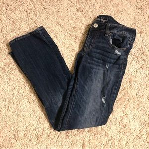 American Eagle Blue Ripped Jeans, Size 8